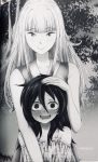 2girls black_hair blush drooling hand_in_hair height_difference katou_asuka kuroki_tomoko long_hair monochrome multiple_girls smile watashi_ga_motenai_no_wa_dou_kangaetemo_omaera_ga_warui! wide-eyed