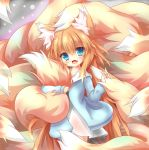 1girl absurdres animal_ear_fluff animal_ears bangs blonde_hair blue_eyes blue_sweater blush child commentary_request cowboy_shot dress eyebrows_visible_through_hair fang fox_ears fox_girl fox_tail highres kyuubi large_tail long_hair looking_at_viewer macaroni710 messy_hair multiple_tails open_mouth original smile solo standing sweater tail tail_grab tail_hug very_long_hair white_dress