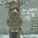 1girl black_eyes black_hair breath camouflage chinese_commentary christmas christmas_lights christmas_ornaments christmas_tree commentary_request etmc1992 hands_in_pockets hood hood_up load_bearing_equipment looking_at_viewer original outdoors scarf short_shorts shorts snow snowing solo thigh-highs tree weapon weapon_on_back zettai_ryouiki