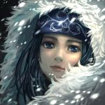 1girl asirpa black_hair blue_bandana blue_eyes golden_kamuy hood hood_up looking_at_viewer portrait san-san_(pixiv16523866) short_hair snowing solo