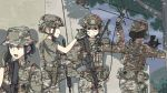 4girls anger_vein assault_rifle backwards_hat baseball_cap black_hair blonde_hair braid bucket_hat camouflage chinese_commentary commentary_request doodle etmc1992 face_painting gloves green_eyes gun handgun hat helmet highres holster holstered_weapon load_bearing_vest m4_carbine military military_uniform multiple_girls original pistol pouch radio radio_antenna rifle uniform weapon