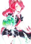 2others absurdres androgynous breaking colored_eyelashes cracked crystal_hair elbow_gloves eyebrows_visible_through_hair gem_uniform_(houseki_no_kuni) gloves green_diamond_(houseki_no_kuni) green_eyes green_hair hair_over_one_eye highres houseki_no_kuni kanitohituzi long_hair looking_at_viewer marker_(medium) missing_limb multiple_others necktie ponytail red_eyes redhead ruby_(houseki_no_kuni) shards short_hair smile thigh-highs traditional_media very_long_hair white_background