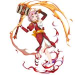 1girl :d arm_up asymmetrical_sleeves black_sleeves bracelet breasts cleavage full_body hair_ornament hairclip highres holding holding_hammer horn japanese_clothes jewelry kimono lisbeth long_sleeves looking_at_viewer medium_breasts necklace official_art open_mouth pink_eyes pink_hair red_kimono sarashi short_hair smile socks solo sword_art_online sword_art_online:_code_register transparent_background war_hammer weapon white_legwear