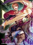 1boy belt boots brown_eyes brown_hair cape copyright_name electricity faceless faceless_male fire_emblem fire_emblem:_thracia_776 fire_emblem_cipher fred_(fire_emblem) gloves helmet highres male_focus nintendo official_art open_mouth sword teeth weapon