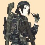 1girl absurdres backpack backwards_hat bag baseball_cap black_eyes black_hair camouflage etmc1992 eyewear_removed gloves gun hat highres original people's_republic_of_china_flag rifle short_hair simple_background sniper_rifle solid_eyes solo sunglasses weapon weapon_request