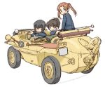 3girls amphibious_ground_vehicle bangs black_eyes black_hair blue_jacket boat brown_eyes brown_hair car closed_mouth commentary driving girls_und_panzer ground_vehicle jacket kadotani_anzu kawashima_momo koyama_yuzu long_hair long_sleeves looking_at_viewer looking_back military military_uniform military_vehicle monocle motor_vehicle multiple_girls oar ooarai_military_uniform open_mouth parted_bangs short_hair shovel simple_background sitting sketch smile twintails uniform uona_telepin vehicle_request watercraft white_background