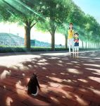 1boy 1girl arm_behind_back bird black_hair blue_shirt blue_sky book brick_road brown_eyes brown_footwear bush child dappled_sunlight day highres holding holding_book ishida_hiroyasu long_hair looking_at_viewer pants penguin penguin_highway pink_footwear power_lines shirt sky socks standing sunlight tree water_tower white_legwear white_pants yellow_shirt