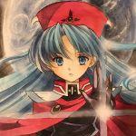 1girl blue_eyes blue_hair cape commentary_request hat highres long_hair lucia_(lunar) lunar lunar_2:_eternal_blue solo