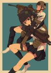 1boy 1girl animal_ears assault_rifle backpack bag black_hair chinese_commentary commentary_request earphones etmc1992 fake_animal_ears gloves gun helmet holding holding_gun holding_weapon m4_carbine original pleated_skirt rifle school_uniform simple_background skirt weapon