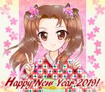 1girl bangs black_bow bow brown_eyes brown_hair burafu closed_mouth commentary_request english_text floral_background floral_print flower girls_und_panzer hair_bow hair_flower hair_ornament happy_new_year japanese_clothes kadotani_anzu kimono long_hair long_sleeves looking_at_viewer new_year obi parted_bangs partial_commentary print_kimono red_kimono sash smile solo sparkle twintails upper_body v wide_sleeves