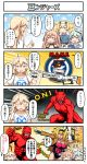 +_+ 4girls 4koma ahoge alternate_costume art_shift blonde_hair blue_gloves blue_hair broken_horn brown_coat brown_hair coat comic cosplay demon demon_horns demon_tail dixie_cup_hat emphasis_lines english_text fang fingerless_gloves gambier_bay_(kantai_collection) gambit gambit_(cosplay) gloves gun hat highres holding holding_gun holding_playing_card holding_weapon horns index_finger_raised iowa_(kantai_collection) johnston_(kantai_collection) kantai_collection leotard marvel military_hat multiple_girls notice_lines railgun red_skin samuel_b._roberts_(kantai_collection) sidelocks speech_bubble star starry_background sweatdrop tail torn_coat translation_request trench_coat tsukemon twintails two_side_up weapon whale