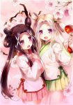 2girls 54hao :d bangs blush brown_hair chinese_clothes commentary_request fan flower forehead green_skirt hair_ornament hair_rings hand_up hands_on_own_chest highres holding holding_fan long_hair long_sleeves looking_at_viewer multiple_girls open_mouth original own_hands_together paper_fan parted_bangs pink_skirt red_eyes siblings sisters skirt smile tree_branch twins twintails uchiwa very_long_hair violet_eyes white_flower wide_sleeves x_hair_ornament