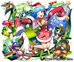 ;d blue_hair bow_(weapon) cellphone company_name green_eyes green_hat hat heart helmet key looking_at_viewer official_art one_eye_closed open_mouth ornament phone red_hat santa_hat shoumetsu_toshi_2 slippers smile stuffed_animal stuffed_bunny stuffed_toy sweater sword teddy_bear tenryou_sena treasure_chest very_long_sleeves weapon white_background yellow_legwear