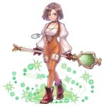 1girl artist_request black_hair bodysuit boots breasts brown_choker brown_eyes brown_footwear brown_gloves brown_hair choker final_fantasy final_fantasy_ix garnet_til_alexandros_xvii gloves groin high_heel_boots high_heels holding holding_staff jewelry long_sleeves looking_at_viewer medium_hair necklace official_art orange_bodysuit puffy_long_sleeves puffy_sleeves short_hair simple_background small_breasts smile solo staff weapon white_background