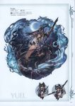 1girl absurdres animal_ears armpits arms_up bangs barefoot bell black_hair black_legwear breasts clouds crescent_moon dress dual_wielding elbow_gloves erune fox_ears fox_tail full_body fur_trim gloves granblue_fantasy grin hair_ornament highres holding holding_weapon kneehighs long_hair looking_at_viewer medium_breasts minaba_hideo moon night night_sky official_art scan see-through short_dress sky smile solo star_(sky) tail thigh_strap toeless_legwear toes violet_eyes weapon yuel_(granblue_fantasy)