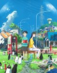 1boy 1girl aoyama-kun_(penguin_highway) aqua_shirt bird black_footwear black_hair blue_eyes blue_sky board_game book brown_footwear building chair chess closed_eyes clouds cup fire_hydrant grass highres house ishida_hiroyasu lamppost lego looking_at_viewer onee-san_(penguin_highway) open_book outdoors pants penguin penguin_highway power_lines road_sign shadow shirt shoes short_sleeves sign sitting sky standing teacup tree umbrella vending_machine water water_tower white_pants yellow_shirt