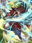 1boy armor armored_boots boots brown_eyes brown_hair clouds copyright_name dragon electricity fire_emblem fire_emblem_cipher fire_emblem_if gloves grass japanese_armor kuroba.k long_hair male_focus mountain nintendo official_art open_mouth ryouma_(fire_emblem_if) sky solo sword teeth weapon