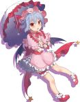 1girl bangs bat_wings beni_kurage blue_hair blush bobby_socks bow bowtie capelet commentary_request dress eyebrows_visible_through_hair fang frilled_capelet frilled_shirt_collar frills full_body hair_between_eyes hat hat_ribbon highres holding holding_umbrella leg_garter looking_at_viewer mary_janes mob_cap open_mouth petticoat pink_capelet pink_dress pink_hat pointy_ears red_bow red_eyes red_footwear red_neckwear red_ribbon red_sash remilia_scarlet ribbon sash shoes short_hair silhouette simple_background smile socks solo space_print star starry_sky_print thighs touhou umbrella white_background white_legwear white_umbrella wings wrist_cuffs