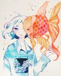 1girl animal collared_shirt expressionless fins fish goldfish highres limited_palette long_sleeves looking_to_the_side maruti_bitamin medium_hair one_eye_covered original oversized_animal print_shirt shirt solo traditional_media upper_body watercolor_(medium) waves white_background white_hair