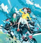 1boy 1girl :d :o aoyama-kun_(penguin_highway) aqua_shirt bird black_shorts blue_sky blush book bubble can child clouds day highres house ishida_hiroyasu long_hair looking_up mary_janes midair mouth_hold onee-san_(penguin_highway) open_mouth pants penguin penguin_highway pink_footwear shirt shoes shorts sky smile soda_can too_many vending_machine whale white_pants yellow_shirt