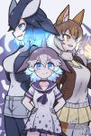 3girls animal_ears ascot bangs bare_arms black_hair black_vest blue_eyes blue_hair bodysuit borrowed_character breasts brown_hair brown_jacket buttons closed_mouth collar collarbone collared_dress commentary_request common_bottlenose_dolphin_(kemono_friends) covered_navel czechoslovakian_wolfdog_(kemono_friends)_(kitsunetsuki_itsuki) dated dress eyebrows_visible_through_hair fang frilled_dress frills fur_collar gloves glowing glowing_hair glowing_hand grey_dress grey_hair grey_shorts grey_sweater hair_between_eyes hair_ornament hairclip hand_up hands_on_hips head_fins height_difference jacket kemono_friends killer_whale_(kemono_friends)_(stylecase) kitsunetsuki_itsuki long_sleeves looking_afar looking_at_viewer medium_hair multicolored_hair multiple_girls necktie open_clothes open_jacket open_mouth open_vest orange_eyes pantyhose parted_lips plaid plaid_skirt pocket sailor_collar short_dress short_sleeves shorts signature skirt smile smug standing sweater tsurime turtleneck upper_body v-shaped_eyebrows vest wetsuit wolf_ears yellow_neckwear yellow_skirt