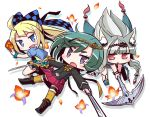 3girls 7th_dragon_(series) 7th_dragon_iii :d :o animal_ear_fluff animal_ears bangs belt belt_buckle black_footwear black_jacket blonde_hair blue_belt blue_eyes blue_jacket blush boots bow buckle card character_request checkered checkered_bow commentary_request drop_shadow dual_wielding fang flower green_hair green_shirt hair_bow holding holding_card holding_sword holding_weapon jacket knee_boots leaning_forward long_hair multiple_girls naga_u open_clothes open_jacket open_mouth parted_lips petals pleated_skirt puffy_short_sleeves puffy_sleeves red_eyes red_flower red_skirt shirt short_eyebrows short_sleeves silver_hair skirt smile sword thick_eyebrows thigh-highs thighhighs_under_boots very_long_hair violet_eyes weapon white_background yellow_bow yellow_legwear