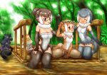 +++ 5girls :d ^_^ animal_ears animal_print bangs bare_shoulders black_hair black_jaguar_(kemono_friends) blue_eyes blush breasts brown_hair cleavage closed_eyes closed_eyes covered_navel day elbow_gloves empty_eyes eurasian_otter_(kemono_friends) extra_ears eyebrows_visible_through_hair fingerless_gloves flower flying_sweatdrops fur_collar glasses gloves grey_eyes grey_hair hakumaiya hand_on_another's_head hand_on_own_thigh hand_up head_wreath high_ponytail highres jaguar_(kemono_friends) jaguar_ears jaguar_print jaguar_tail japanese_otter_(kemono_friends) kemono_friends kneeling light_brown_hair looking_at_another medium_hair multicolored_hair multiple_girls nose_blush one-piece_swimsuit open_mouth otter_ears otter_tail outdoors outstretched_arm partially_submerged ponytail scarf shirt short_hair short_ponytail sidelocks sitting skirt small-clawed_otter_(kemono_friends) smile spread_fingers strapless strapless_swimsuit swimming swimsuit tail thigh-highs toeless_legwear toes tree wariza water watercraft white_hair |d