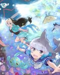 2girls bare_legs blue_eyes blue_hair bracelet california_sea_lion_(kemono_friends) character_request commentary_request common_bottlenose_dolphin_(kemono_friends) creatures_(company) dark_blue_hair dolphin_tail dorsal_fin dress eyebrows_visible_through_hair flippers frilled_dress frills game_freak glasses grey_hair hair_tie jacket jewelry kemono_friends long_hair moeki_(moeki0329) multicolored_hair multiple_girls neckerchief nintendo one-piece_swimsuit open_mouth pokemon sailor_collar sailor_dress sandals short_hair short_sleeves smile swimming swimsuit underwater white_hair
