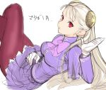 1girl albino capcom_fighting_jam commentary_request dress gloves hairpods highres ingrid long_hair pantyhose purple_dress purple_legwear red_eyes solo tetsu_(kimuchi) translation_request white_gloves white_hair