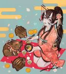 1girl 2019 :p alpaca_carlesi boar breasts brown_eyes brown_hair chopsticks commentary earrings english_commentary feeding food fruit hair_between_eyes hair_ornament hair_stick horns japanese_clothes jewelry kimono long_hair looking_at_viewer mandarin_orange mole mole_under_mouth new_year obi oni oni_horns original pale_skin petals pointy_ears rope sash seiza shimenawa sitting small_breasts smile solo_focus tongue tongue_out tusks