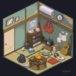 air_conditioner book book_stack bookshelf box broom calendar_(object) cat clock controller cup door dvd dvd_case eyewear_removed game_boy guitar handheld_game_console headphones instrument inunoya jacket jacket_removed no_humans open_book paper pencil piggy_bank pillow pixel_art plaque red_jacket remote_control scenery sticky_note table tatami tea teapot television tissue_box trash_can yunomi