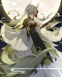 1girl alternate_costume arm_strap breasts cleavage cleavage_cutout dress ex-keine fog full_moon ginryuu green_dress green_hair green_tail highres holding horn_ribbon horns kamishirasawa_keine large_tail long_hair long_sleeves looking_down moon multicolored_hair night night_sky outdoors red_eyes ribbon scroll sidelocks sky solo standing star tabard tail touhou two-tone_hair very_long_hair very_long_tail wide_sleeves
