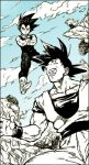 3boys :d black_hair blue blue_sky boots cape crossed_arms day dougi dragon_ball dragonball_z facing_away flying frown full_body happy looking_down looking_up lowres male_focus monochrome multiple_boys nitako open_mouth outdoors piccolo rock short_hair sky smile son_gokuu spiky_hair spot_color standing upper_body vegeta wristband