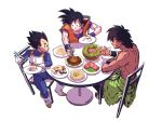 3boys armor artist_name bare_back black_eyes black_hair boots broly_(dragon_ball_super) chair chopsticks clothes_around_waist dragon_ball dragon_ball_super dragon_ball_super_broly eating food gloves holding holding_chopsticks holding_food looking_at_another looking_at_hand meat multiple_boys muscle no_shirt plate saiyan scar shirtless short_hair simple_background sitting son_gokuu spiky_hair sushi sweatdrop table topless vegeta white_gloves widow's_peak wristband