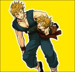 2boys :d arm_around_neck black_border blonde_hair border brothers carrying clothes_lift dougi dragon_ball dragonball_z green_hair happy looking_at_another lowres male_focus multiple_boys nitako open_mouth short_hair siblings simple_background sleeveless smile son_gohan son_goten spiky_hair super_saiyan wristband yellow_background