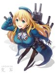 1girl atago_(kantai_collection) beret black_gloves black_legwear black_skirt blonde_hair blue_footwear blue_hat blue_jacket blush breasts cannon character_name eyebrows_visible_through_hair frilled_jacket frills from_above full_body gloves green_eyes hair_between_eyes hand_on_head hat high_heels highres itou_(onsoku_tassha) jacket kantai_collection large_breasts long_hair long_sleeves looking_at_viewer machinery military military_uniform neckerchief open_mouth pantyhose rigging shadow shirt simple_background skirt smile solo text_focus turret two-tone_neckwear uniform white_background white_neckwear white_shirt