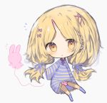 1girl :o balloon bangs blonde_hair blush bow brown_eyes chibi cottontailtokki dress full_body grey_background hair_bow hair_ornament hair_ribbon head_tilt highres horn kneehighs long_hair long_sleeves low_twintails no_shoes original panties parted_bangs parted_lips pink_bow purple_dress purple_legwear purple_ribbon ribbon simple_background sleeves_past_wrists solo striped striped_dress striped_panties twintails underwear very_long_hair wide_sleeves x_hair_ornament