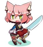 1girl 7th_dragon 7th_dragon_(series) :d animal_ear_fluff animal_ears bangs black_footwear blue_jacket blush boots cat_ears chibi colored_shadow commentary_request eyebrows_visible_through_hair fang full_body gloves green_eyes hair_between_eyes hair_bobbles hair_ornament harukara_(7th_dragon) holding holding_sword holding_weapon jacket knee_boots long_sleeves looking_at_viewer naga_u one_side_up open_mouth pink_hair red_gloves shadow smile solo standing striped striped_legwear sword thigh-highs thighhighs_under_boots two-handed weapon white_background