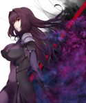 1girl bangs bodysuit breasts fate/grand_order fate_(series) fujitsubo_(hujitubo0731) gae_bolg hair_between_eyes highres large_breasts long_hair looking_at_viewer parted_lips pauldrons polearm purple_bodysuit purple_hair red_eyes scathach_(fate)_(all) scathach_(fate/grand_order) smile solo spear weapon white_background