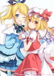 2girls 6u_(eternal_land) :o ;d absurdres ascot ayase_eli bangs bare_shoulders black_ribbon blonde_hair blouse blue_blouse blue_bow blue_eyes blue_neckwear blue_ribbon blue_skirt blush bow bowtie capelet character_name copyright_name cowboy_shot crossover crystal earrings eyebrows_visible_through_hair fang flandre_scarlet frilled_shirt_collar frills gloves hair_between_eyes hair_ribbon hand_up hat hat_ribbon highres interlocked_fingers jewelry long_hair long_sleeves love_live! love_live!_school_idol_project miniskirt mob_cap multiple_girls one_eye_closed one_side_up open_mouth parted_lips petticoat polka_dot polka_dot_background ponytail puffy_short_sleeves puffy_sleeves red_bow red_eyes red_ribbon red_skirt red_vest ribbon shadow shirt short_sleeves shoulder_cutout skirt smile standing swept_bangs thigh-highs thighs touhou vest white_background white_capelet white_gloves white_hat white_legwear white_shirt wings yellow_neckwear zettai_ryouiki