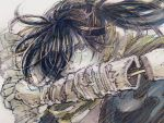1boy amputee black_eyes black_hair dororo_(tezuka) hair_over_one_eye highres hyakkimaru_(dororo) long_hair looking_at_viewer marker_(medium) ponytail prosthesis prosthetic_arm scarf solo traditional_media upper_body