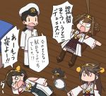 1boy 3girls admiral_(kantai_collection) ahoge black_hair brown_hair double_bun glasses hair_ornament haruna_(kantai_collection) hiei_(kantai_collection) japanese_clothes kantai_collection kirishima_(kantai_collection) kongou_(kantai_collection) kuroiani long_hair miko military military_uniform multiple_girls parody racket short_hair style_parody tennis_racket translation_request ueno-san_wa_bukiyou uniform