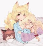 3girls alternate_hairstyle animal_ears baby.lemon bangs blue_robe blush bow braid breasts brown_hair cat_ears chen cleavage closed_eyes fangs_out floral_print fox_ears fox_tail hair_between_eyes hair_bow half-closed_eyes hands_together highres light_smile long_hair long_sleeves looking_down lying multiple_girls multiple_tails no_hat no_headwear off-shoulder_shirt off_shoulder on_back on_side open_mouth patterned_clothing pillow pink_lips purple_shirt shiny shiny_hair shirt short_hair simple_background single_braid sitting sleeping smile tail touhou under_covers very_long_hair white_background wide_sleeves yakumo_ran yakumo_yukari yellow_eyes
