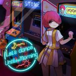 1girl arcade arcade_cabinet crescent_moon english_text from_behind hair_over_one_eye hakuro96 hand_up highres looking_at_viewer looking_back moon original planet playing_games redhead saturn short_hair sign smile solo sun video_game waves
