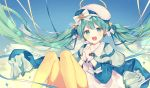 1girl :d beret blue_capelet blue_jacket blue_sky blush bow capelet clouds cloudy_sky collarbone commentary_request day dress floating_hair gloves green_eyes green_hair hands_clasped hat hatsune_miku interlocked_fingers jacket knees_up long_hair long_sleeves looking_at_viewer open_mouth outdoors own_hands_together pantyhose silltare sky smile solo striped striped_bow twintails very_long_hair vocaloid white_bow white_dress white_gloves white_hat yellow_legwear