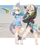 bare_legs barefoot blue_eyes blue_hair california_sea_lion_(kemono_friends) commentary_request common_bottlenose_dolphin_(kemono_friends) dark_blue_hair dolphin_tail dorsal_fin dress eyebrows_visible_through_hair flippers frilled_dress frills glasses grey_hair hair_tie highres hood hoodie kemono_friends kolshica long_hair multicolored_hair navel neckerchief one-piece_swimsuit one_eye_closed sailor_collar sailor_dress short_hair short_sleeves swimsuit water_gun white_hair