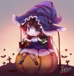 1girl akira_b animal bangs bare_arms bare_shoulders bat black_footwear blush bow brown_hair candy_wrapper character_request chibi commentary_request dress eyebrows_visible_through_hair halloween_basket hat league_of_legends long_hair mary_janes parted_lips pumpkin purple_dress purple_hat red_bow shoes signature sitting skull sleeveless sleeveless_dress solo star stitches very_long_hair violet_eyes