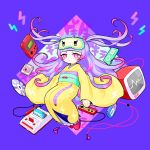 1girl absurdres bangs blue_background blunt_bangs digital_media_player earphones earphones expressionless floating full_body hakuro96 handheld_game_console highres ipod japanese_clothes kimono lavender_hair long_hair long_sleeves looking_at_viewer multicolored_hair nail_polish original pink_eyes pink_hair pink_nails short_eyebrows sleep_mask solo very_long_hair wide_sleeves yellow_kimono