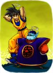 2boys :d arms_behind_back arms_behind_head black_hair boots clothes_writing clouds dougi dragon_ball dragonball_z frown full_body halo height_difference looking_at_another male_focus multiple_boys nervous nitako north_kaiou open_mouth shadow short_hair simple_background smile snake_way son_gokuu spiky_hair sunglasses sweatdrop walking wristband