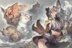 1girl animal animal_ears animal_on_shoulder artist_request bangs black_cat black_collar black_skirt brown_eyes cat cat_on_shoulder claw_(weapon) claws collar erune fang fangs flower fur_trim gloves granblue_fantasy grey_hair hair_between_eyes hair_flower hair_ornament holding holding_cat hood hood_down multiple_cats official_art open_mouth scar scar_across_eye sen_(granblue_fantasy) skirt sleeveless weapon white_flower